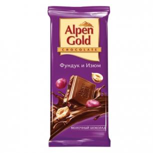Шоколад ALPEN GOLD молочный с фундуком и изюмом, 90г, ш/к 07183