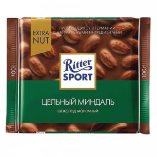 """Шоколад RITTER SPORT """"Extra Nut"""", молочный с цельным миндалем, 100г, Германия, 7036"""