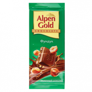Шоколад ALPEN GOLD молочный с фундуком, 90г, ш/к 07169