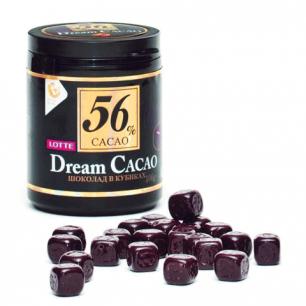 """Шоколад LOTTE """"Dream Cacao"""", горький (какао 56%)  в кубиках, в пластиковой банке, 106г, шк 67651"""