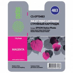 Картридж струйный EPSON (T048340)  Stylus Photo R200/R300/RX500 и др пурпурный CACTUS СОВМЕСТИМЫЙ