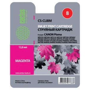 Картридж струйный CANON (CLI-8М)  Pixma iP4200/4300/5200/5300, пурпурный CACTUS СОВМЕСТИМЫЙ