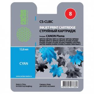 Картридж струйный CANON (CLI-8С)  Pixma iP4200/4300/4500/5200/5300, голубой CACTUS СОВМЕСТИМЫЙ