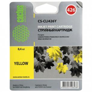 Картридж струйный CANON (CLI-426Y)   Pixma MG5140/MG5240/MG6140/MG8140 желтый CACTUS СОВМЕСТИМЫЙ