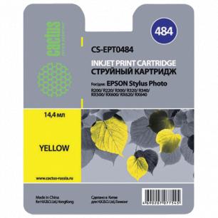 Картридж струйный EPSON (T048440)  Stylus Photo R200/R300/RX500 и др желтый CACTUS СОВМЕСТИМЫЙ