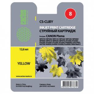Картридж струйный CANON (CLI-8Y)  Pixma iP4200/4300/4500/5200/5300, желтый CACTUS СОВМЕСТИМЫЙ