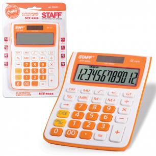 Калькулятор STAFF настольный STF-6222 ОРАНЖЕВЫЙ, 12 разрядов, двойное питание, 148х105мм, НА БЛИСТЕРЕ