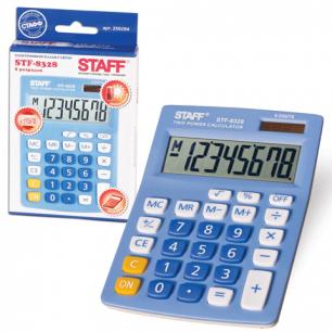 Калькулятор STAFF настольный STF-8328 ГОЛУБОЙ, 8 разрядов, двойное питание, 145х103мм