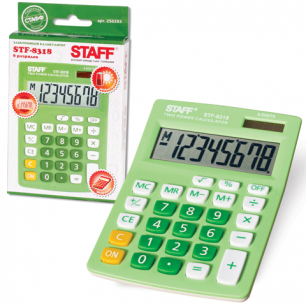 Калькулятор STAFF настольный STF-8318 ЗЕЛЕНЫЙ, 8 разрядов, двойное питание, 145х103мм