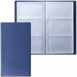 "Визитница трехрядная BRAUBERG ""Favorite"", под классическую кожу, на 144 визитки, темно-синяя, 231654"