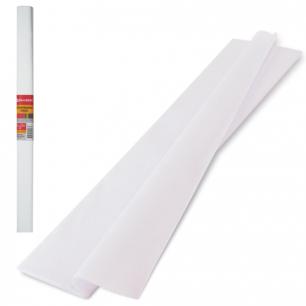 Цветная бумага КРЕПИРОВАННАЯ BRAUBERG, ПЛОТНАЯ, растяжение до 45%, 32г/м, рулон, белая, 50*250см, 126528