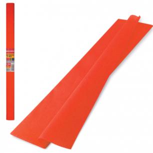 Цветная бумага КРЕПИРОВАННАЯ BRAUBERG, ПЛОТНАЯ, растяжение до 45%, 32г/м, рулон, оранж, 50*250см, 126530