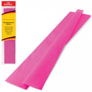 Цветная бумага КРЕПИРОВАННАЯ BRAUBERG, растяжение до 65%, 25г/м, европодвес, розовая, 50*200см, 124729