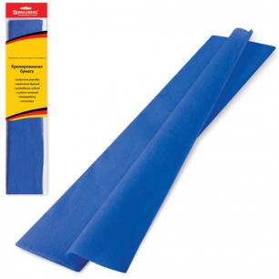 Цветная бумага КРЕПИРОВАННАЯ BRAUBERG, растяжение до 65%, 25г/м, европодвес, синяя, 50*200см, 124734
