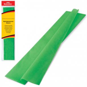 Цветная бумага КРЕПИРОВАННАЯ BRAUBERG, растяжение до 65%, 25г/м, европодвес, зеленая, 50*200см, 124731