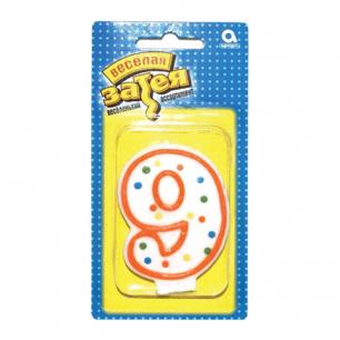 """Праздничная свеча цифра """"9"""" высотой 7,6см, 1502-0153/1502-1023"""