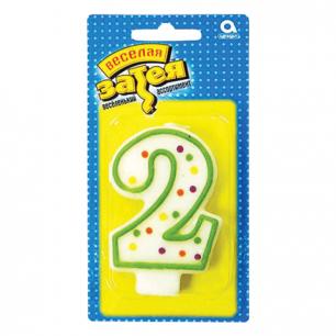 """Праздничная свеча цифра """"2"""" высотой 7,6см, 1502-0139/1502-1016"""