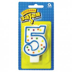 """Праздничная свеча цифра """"5"""" высотой 7,6см, 1502-0145/1502-1019"""