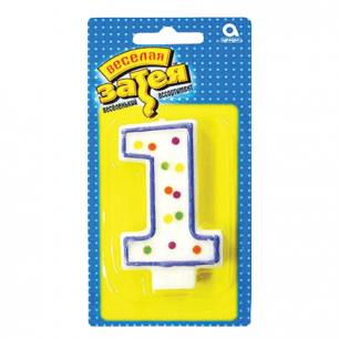 """Праздничная свеча цифра """"1"""" высотой 7,6см, 1502-0137/1502-1015"""