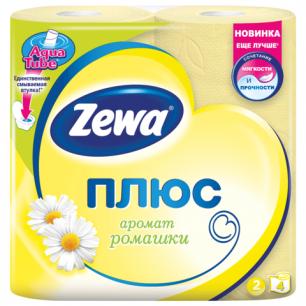 Бумага туалетная ZEWA Plus, 2-х слойная, спайка 4шт.х23м, аромат ромашки, 144065, ш/к 30304