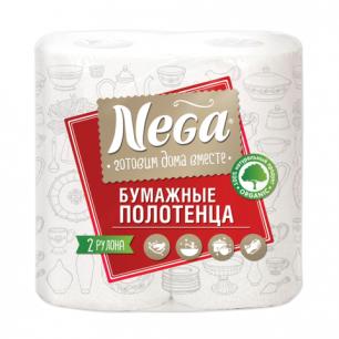 Полотенце бумажное NEGA (Нега), 2-х слойное, спайка 2шт.х17,6м, ш/к 00250
