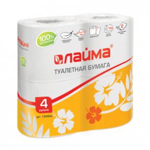 Бумага туалетная ЛАЙМА, 2-х слойная, спайка 4шт.х19м, белая, 126904