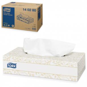 Салфетки косметические TORK (F1)  Premium, 2-сл, 100 шт. в картонном боксе, белые (дисп.601742), 140280