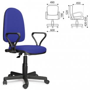 """Кресло оператора """"Престиж"""" с подлокотниками, синее В-10, ш/к 22755"""