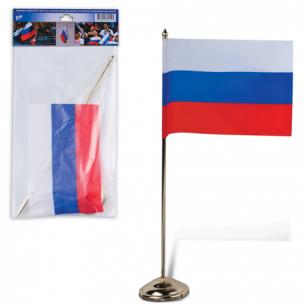 Флаг РФ 12*18 см, подставка с флагштоком 30 см, под золото, пластик, упаковка европодвес, ш/к 21525