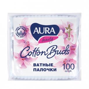 Ватные палочки AURA, 100шт, полиэтиленовый пакет, 1646, 6470