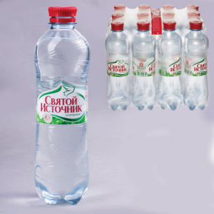 """Вода газированная питьевая """"Святой источник"""", 0,5л, пластиковая бут., ш/к 00755"""