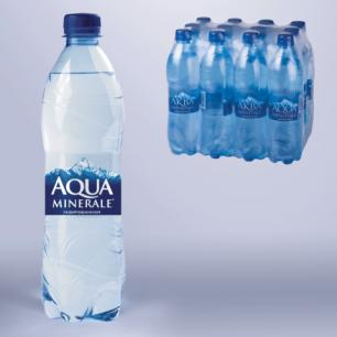 Вода газированная питьевая AQUA MINERALE (Аква Минерале)  0,6л, пластиковая бутылка, ш/к 00058