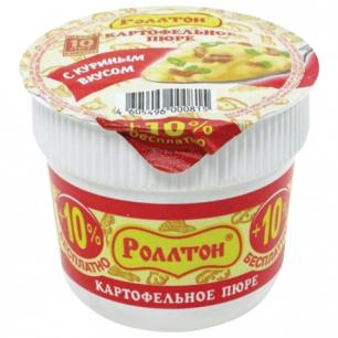 Пюре картофельное РОЛЛТОН быстрого приготовления со вкусом курицы, 40г, стакан, ш/к0815