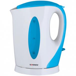 Чайник SONNEN KT-003BL, открытый нагревательный элемент, 1,7л, 2200Вт, пластик, белый/синий, 451818