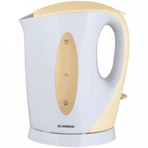 Чайник SONNEN KT-003BG, открытый нагревательный элемент, 1,7л, 2200Вт, пластик, белый/беж, 451819