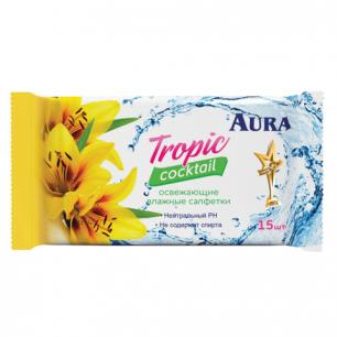 """Салфетки влажные AURA """"Tropic cocktail"""", 15шт, универсальные очищающие, 6066, 6065"""