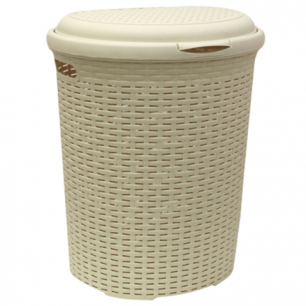 """Корзина 50л для мусора/белья IDEA, """"Ротанг"""", универсальная, пластик (в53*ш43*г34см), бежевая, М 2601"""