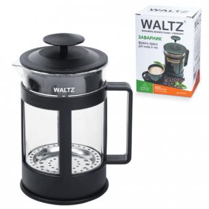 Заварник (френч-пресс)  WALTZ (ВАЛЬЦ)  B04S, 800 мл, жаропрочное стекло/пластик, черный