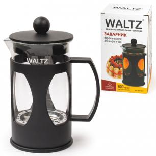 Заварник (френч-пресс)  WALTZ (ВАЛЬЦ)  B07, 600 мл, жаропрочное стекло/пластик, черный