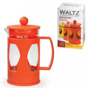 Заварник (френч-пресс)  WALTZ (ВАЛЬЦ)  B07, 600 мл, жаропрочное стекло/пластик, ассорти