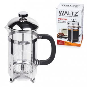 Заварник (френч-пресс)  WALTZ (ВАЛЬЦ)  B500F, 1 л, жаропрочное стекло/пластик/нерж.сталь + пласт.лож