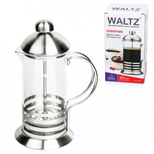Заварник (френч-пресс)  WALTZ (ВАЛЬЦ)  B523S, 350 мл, жаропрочное стекло/нерж.сталь + пласт.ложка