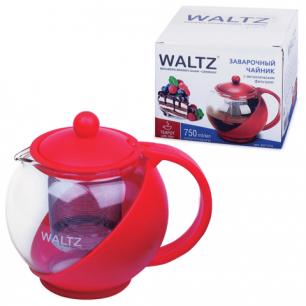 Заварник (чайник)  WALTZ (ВАЛЬЦ), 750 мл, стекло/пластик/фильтр-нерж.сталь, красный, 601374