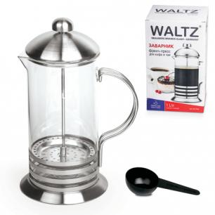 Заварник (френч-пресс)  WALTZ (ВАЛЬЦ)  B523S, 1 л, жаропрочное стекло/нерж.сталь + пластик.ложка