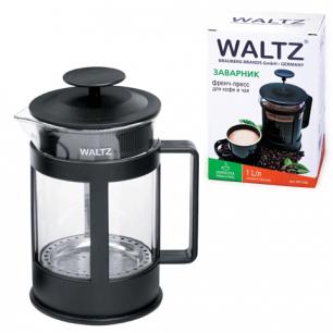 Заварник (френч-пресс)  WALTZ (ВАЛЬЦ)  B04S, 1 л, жаропрочное стекло/пластик, черный