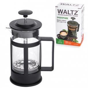 Заварник (френч-пресс)  WALTZ (ВАЛЬЦ)  B04S, 350 мл, жаропрочное стекло/пластик, черный
