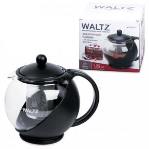 Заварник (чайник)  WALTZ (ВАЛЬЦ), 1,25 л, стекло/пластик/фильтр-нерж.сталь, черный, 601373