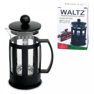 Заварник (френч-пресс)  WALTZ (ВАЛЬЦ)  B02N, 350 мл, жаропрочное стекло/пластик, черный