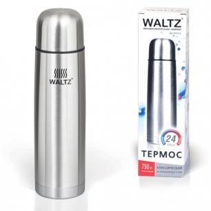 Термос WALTZ (ВАЛЬЦ)  классический с узким горлом, 0,75 л, нержавеющая сталь, 601413