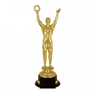 """Приз """"Оскар"""" пластиковый (ш100*г100*в305мм)  основание пластик черный, золото, 2054-300"""